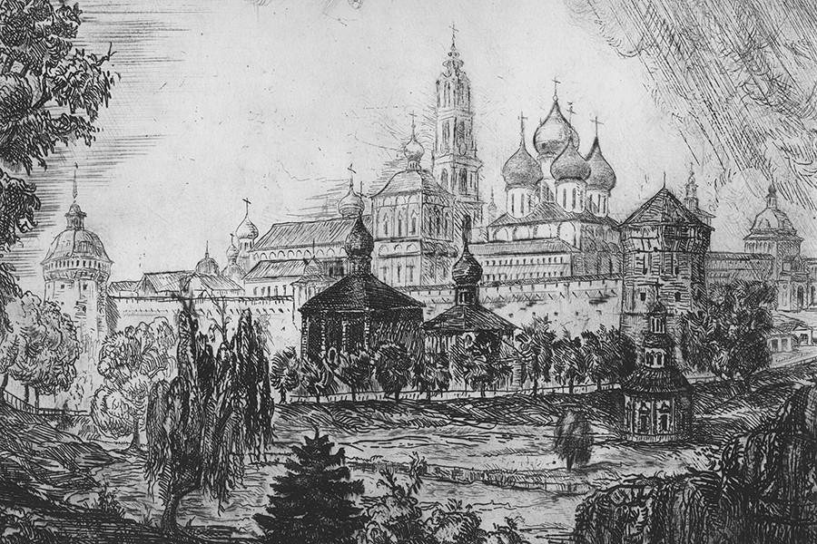 Biara Trinitas Lavra Saint Sergius pada abad ke-17.