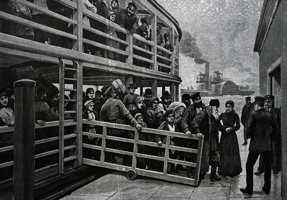 Los emigrantes rusos llegando a Nueva York.