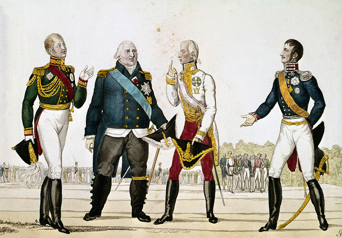 Alexander I of Russia, Louis XVIII of France, Francis I of Austria and Frederick William III of Prussia, 1815, coloured engraving.