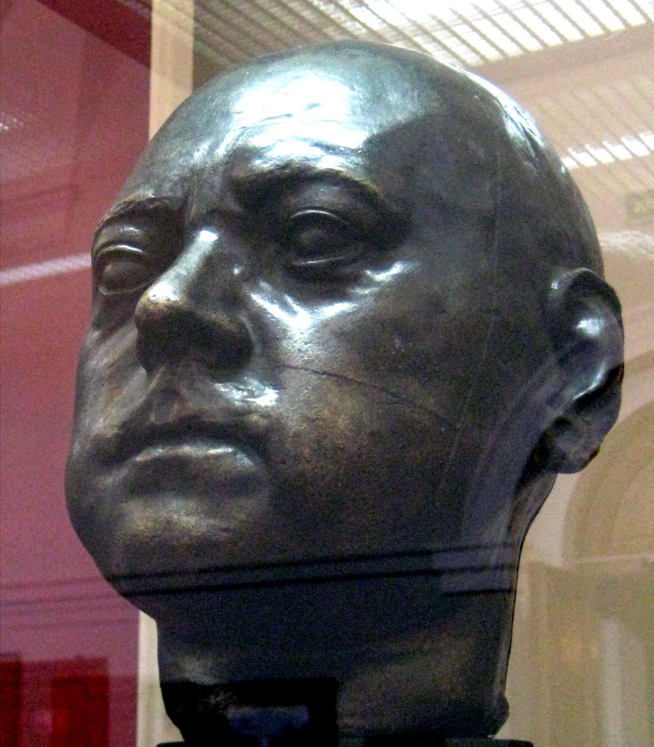 The sculptured head of Peter the Great made after his death mask is probably the only reliable image of the Emperor.