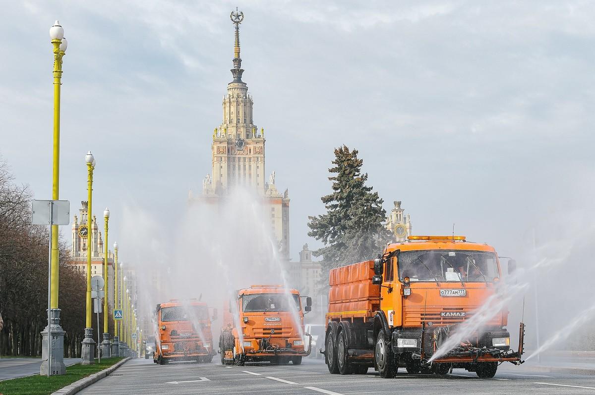 Désinfection des rues à Moscou