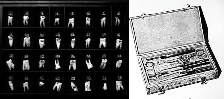 La colección de dientes sacados por Pedro el Grande y una caja de herramientas de dentista del siglo XVIII.
