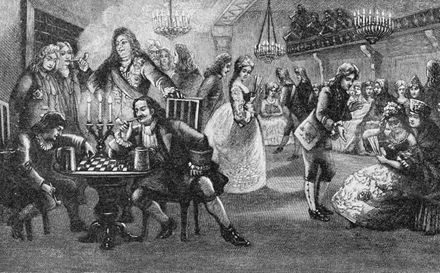 Peter the Great playing chess at an 'assemblée', social evenings he introduced in 1718