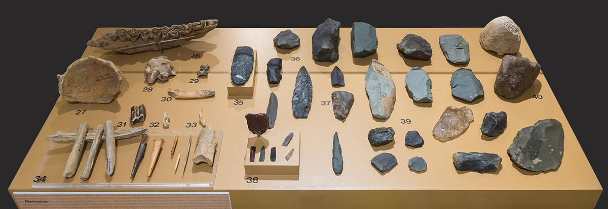 The stone tools probably created by the Denisovan man