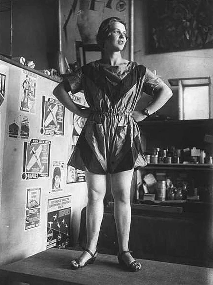 Actress Yevgenia Zhemchuzhnaya in a sport outfit designed by avant-garde artist Varvara Stepanova