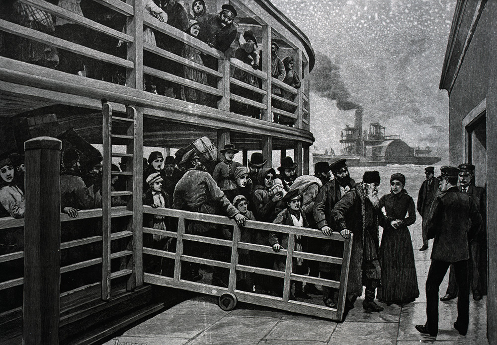 Russian emigrants landing In New York