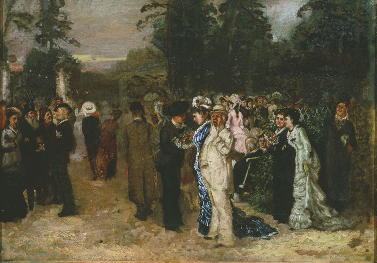 Celebración del Primero de Mayo en el Parque Sokolniki en Moscú, 1883