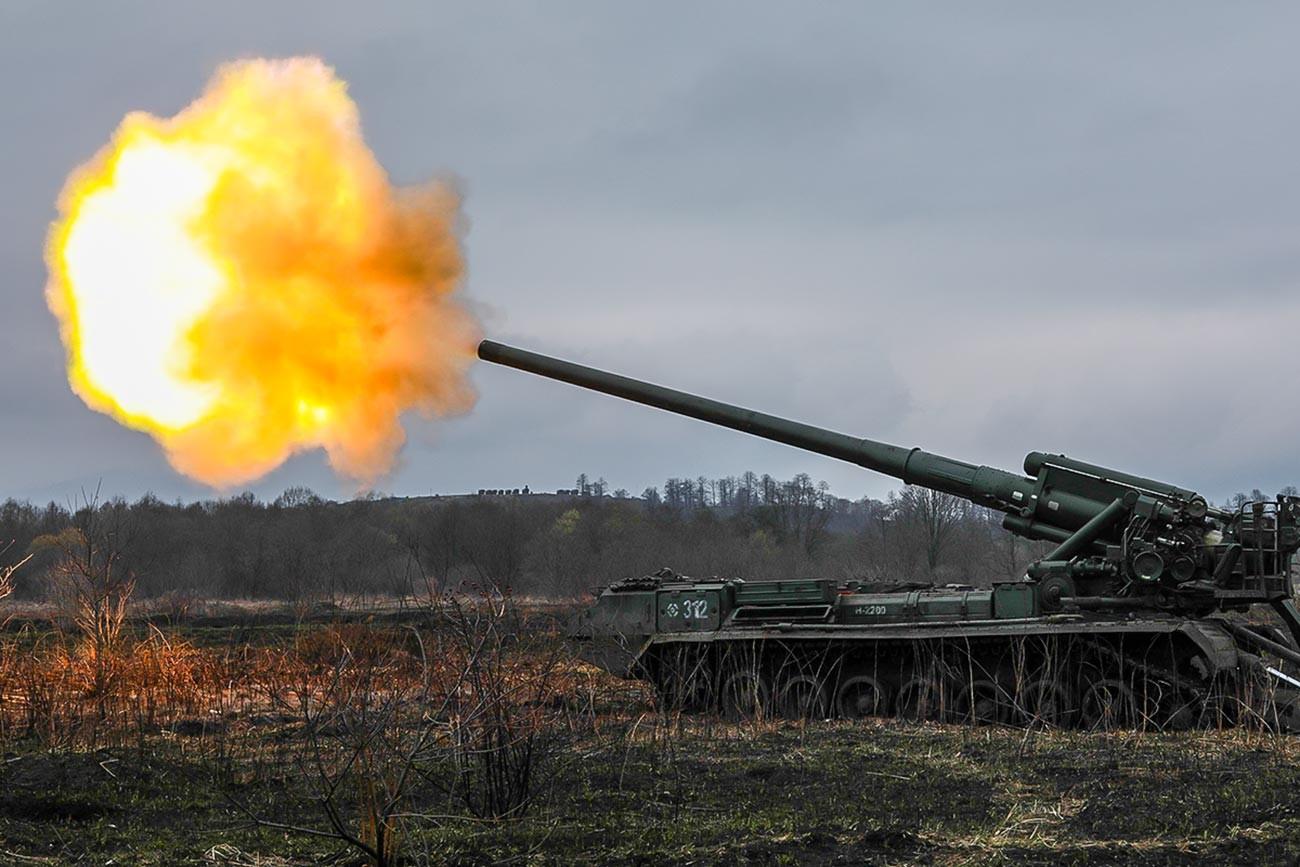 No final da era soviética, engenheiros criaram até 500 sistemas de artilharia Pion.