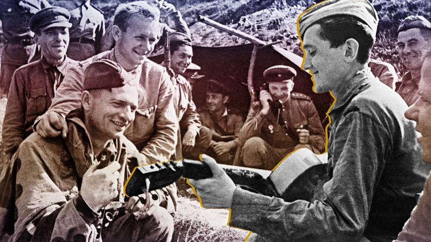 Vojaki Rdeče armade med premorom poslušajo tovariša, ki igra na kitaro. Vzhodna fronta, 1943