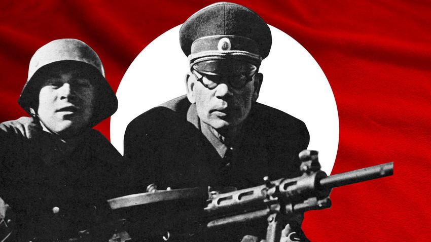 Andréi Vlásov (en el centro) se convirtió en el símbolo de la traición después de que, capturado por los nazis, se pasase a su bando.
