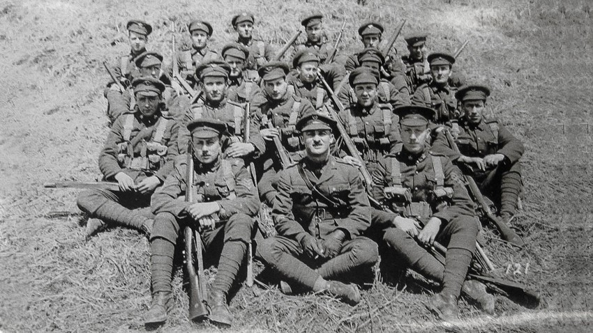 The Canadian troops at Gornostay Bay, Russia, where they would live for the duration of the mission.
