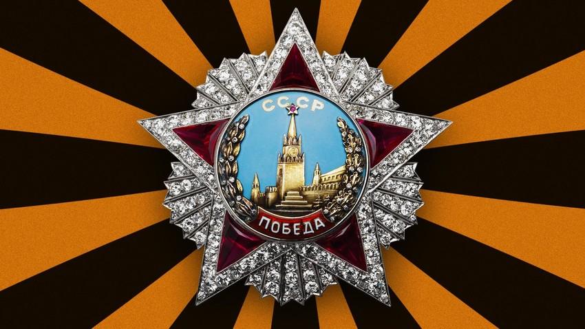 """Орден """"Победа"""". Създаден в периода на 1943-1945 година. Място на производство: СССР, Москва. Материал, техника: платина, злато, сребро, брилианти, рубини (синтетическии), емайл и други"""
