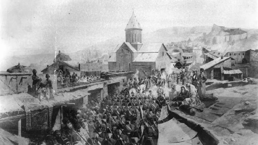 Рускa трупa влегува во Тифлис (Тбилиси), 1799.