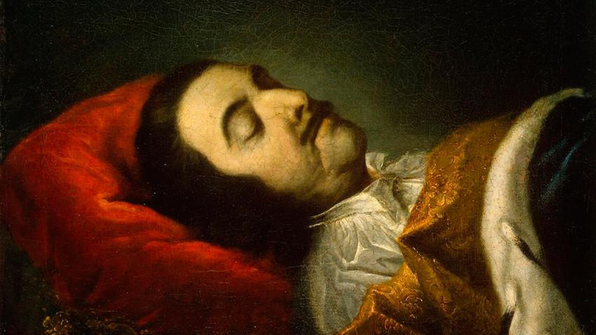Pietro il Grande sul letto di morte ritratto dal pittore tedesco Johann Gottfried Tannauer