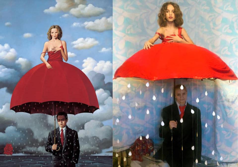 Rafal Olbinski. Red Umbrella