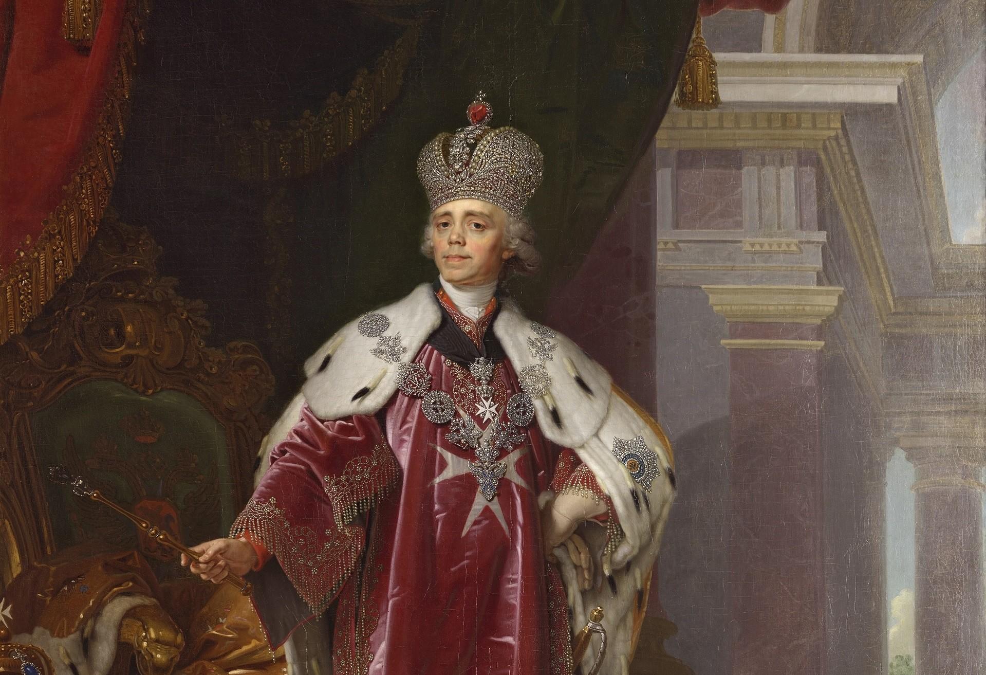 Retrato do imperador Pável 1° pintado por Vladímir Borovikóvski.