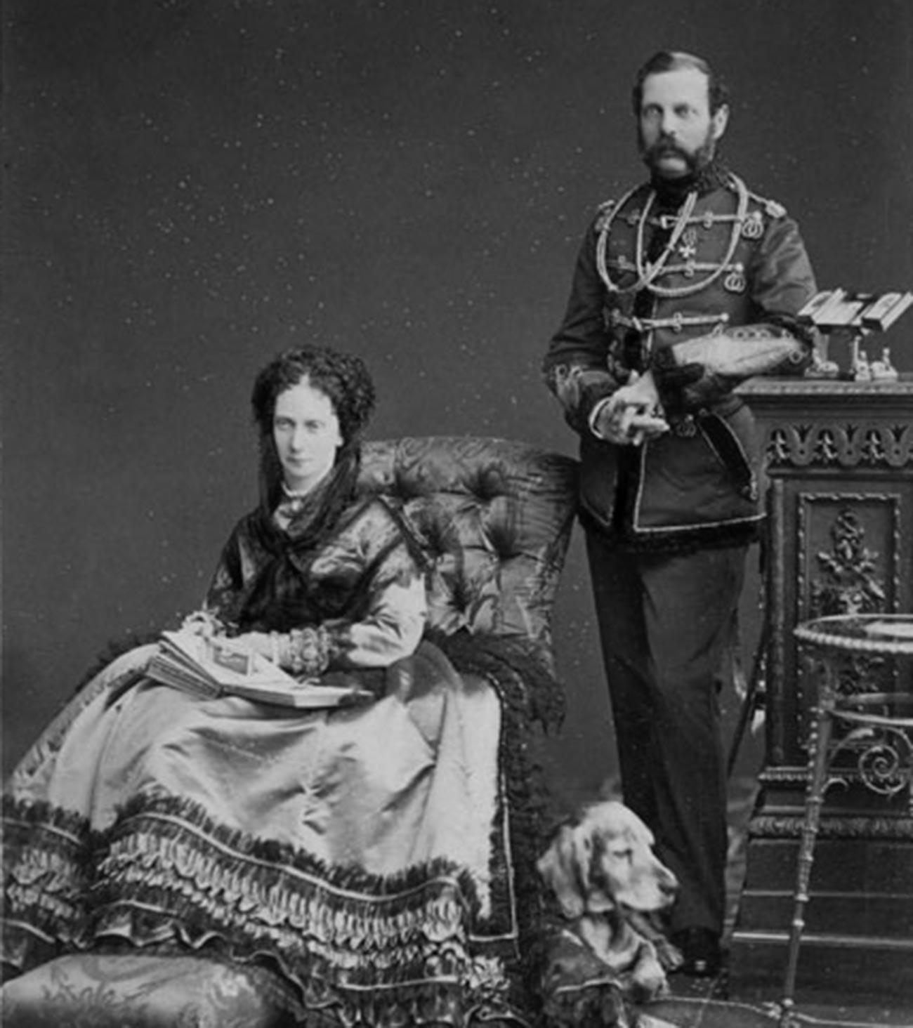 Руски император Александар II Николајевич са супругом Маријом Александровом.