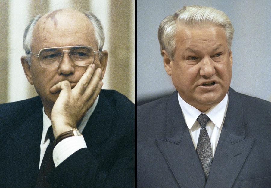 Mikhaíl Gorbatchov e Boris Iéltsin