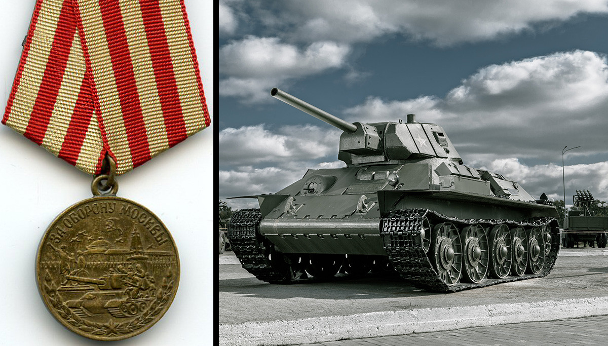 The 'For the Defense of Moscow' medal depicts a T-34 tank with the Kremlin Wall in the background.