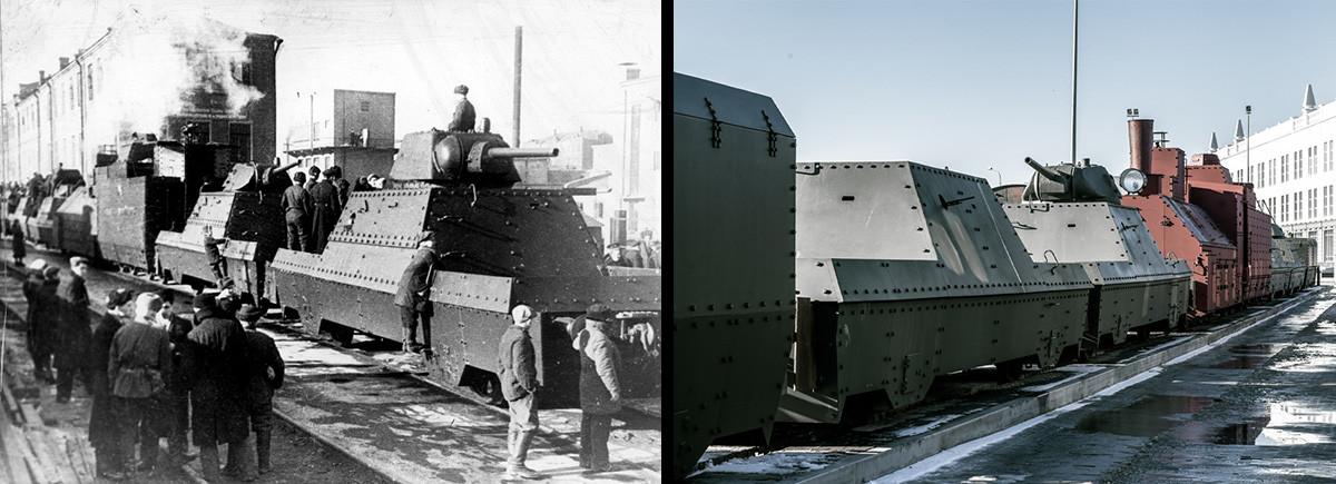 БП-43 – бронепоезд образца 1943 года. Локомотив находится в центре состава, чтобы толкать вагоны как вперед, так и назад. По обе стороны паровоза стоят артиллерийские платформы с башнями от танка Т-34 и пулеметными гнездами для кругового обстрела. Замыкают поезд платформы ПВО с зенитными пушками.