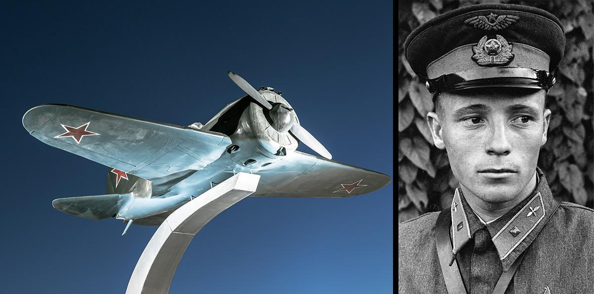 И-16 – Потпоручник Виктор Талалихин, војни пилот, заменик командира ескадриле 177. ловачког авијацијског пука, Херој Совјетског Савеза. Он је међу првима у СССР-у извео ноћни таран изнад Москве. Погинуо је 27. октобра 1941. године у ваздушном боју близу Подољска. Имао је тада 23 године.