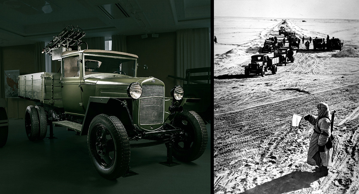 ГАЗ-ММ, Лењинград 1942. Камиони превозе храну преко Ладошког језера.