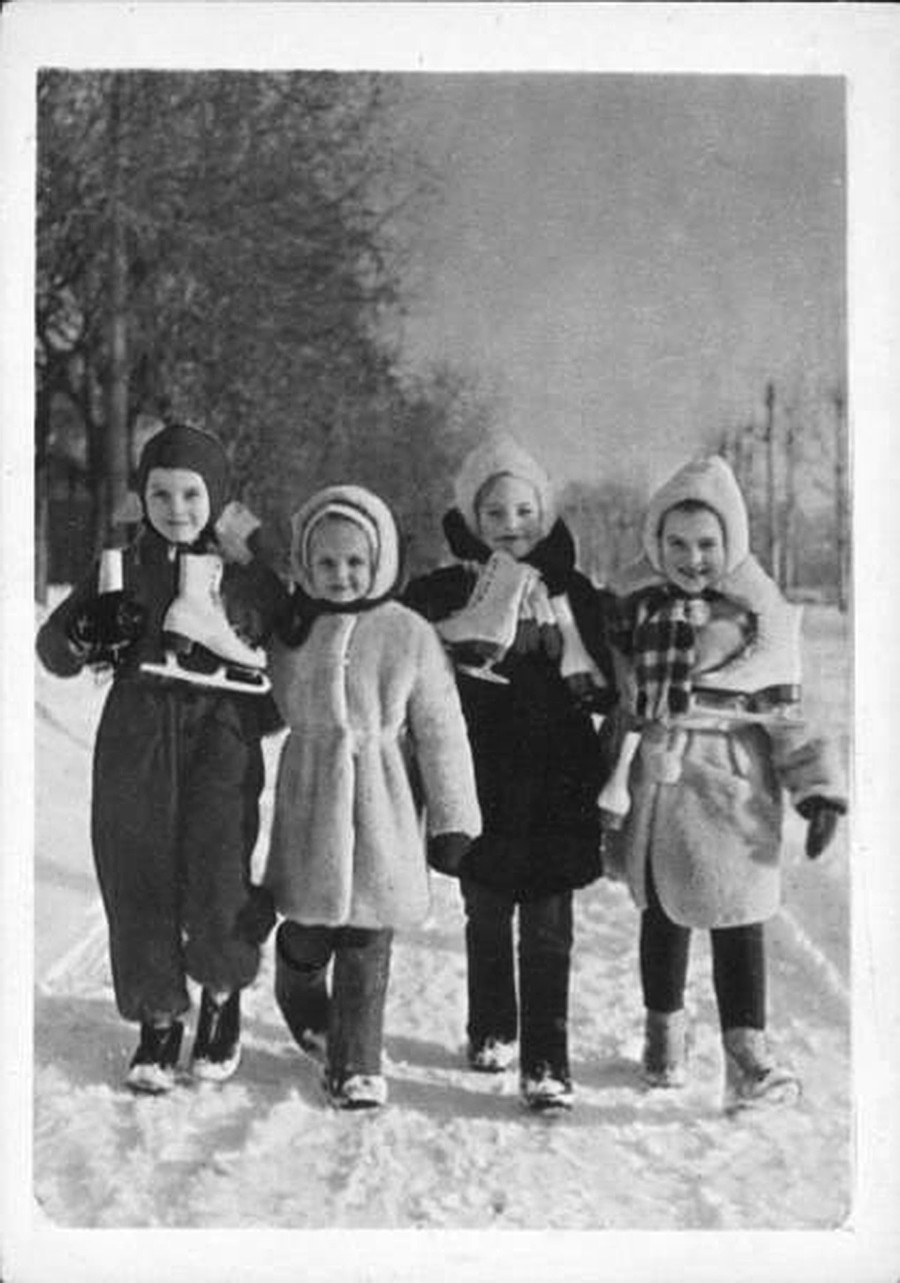 Young skaters going for a walk