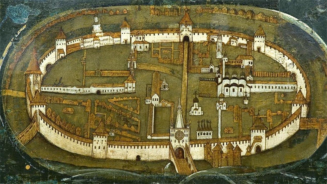 Fragment de l'icône de Notre-Dame du Signe, conservée à la cathédrale Sainte-Sophie de Novgorod