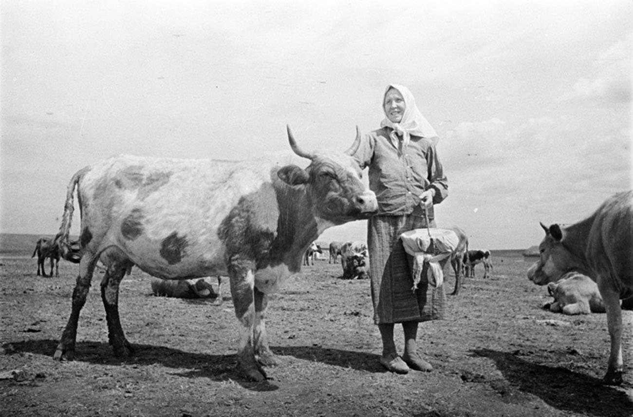 Eine Bäuerin während des Zweiten Weltkriegs
