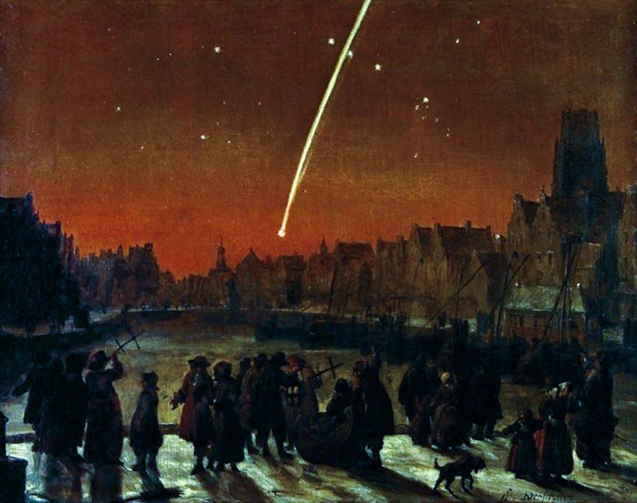 La Grande comète de 1680 au-dessus de Rotterdam par le peintre néerlandais Lieve Verschuier