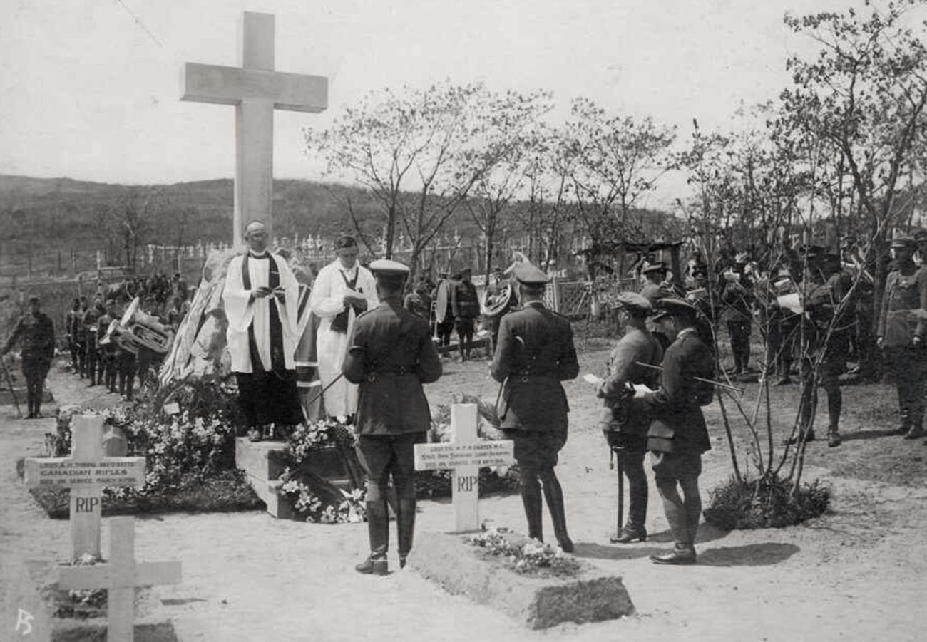Canadian troops burying their dead in Vladivostok