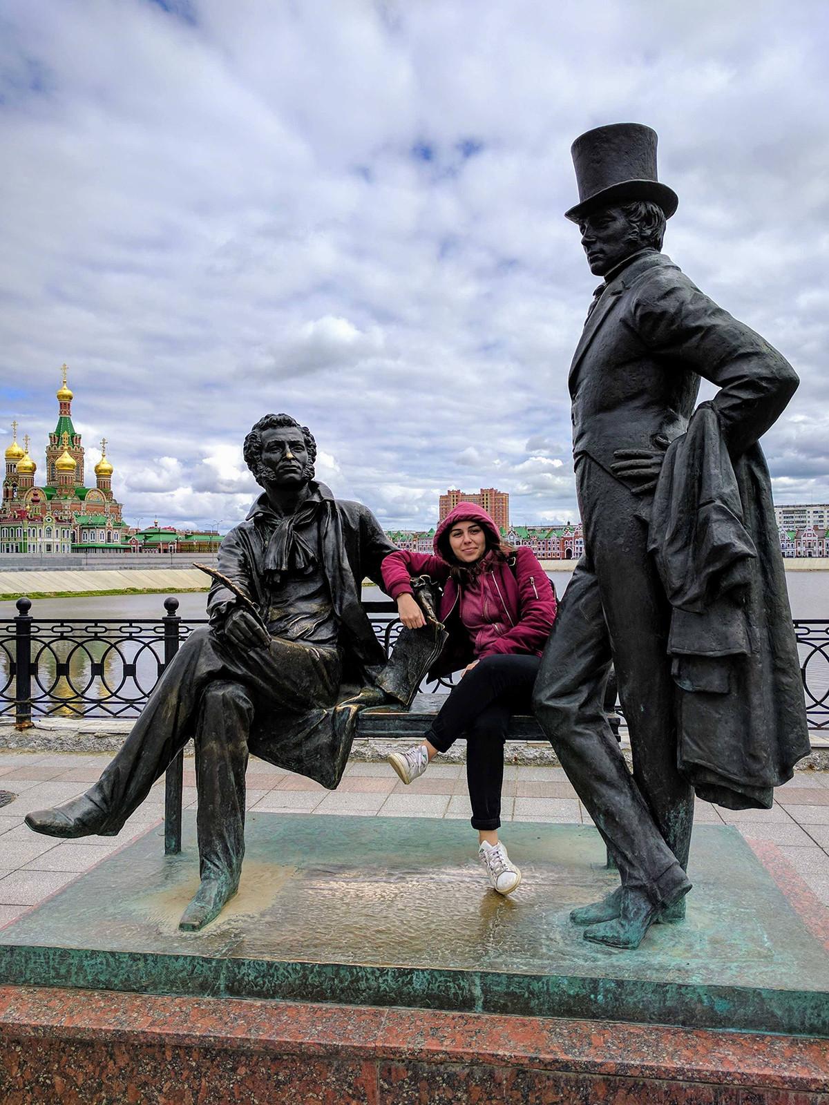 With Alexander Pushkin and Evgeny Onegin in Yoshkar-Ola, 2017