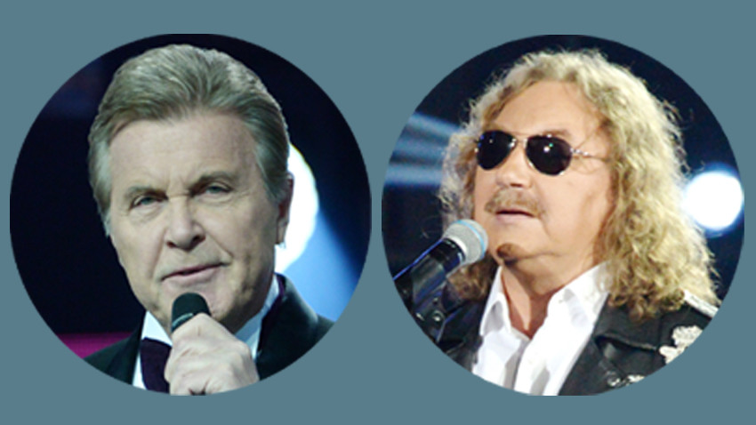Penyanyi populer Rusia Lev Leshchenko (kiri) dan Igor Nikolaev.