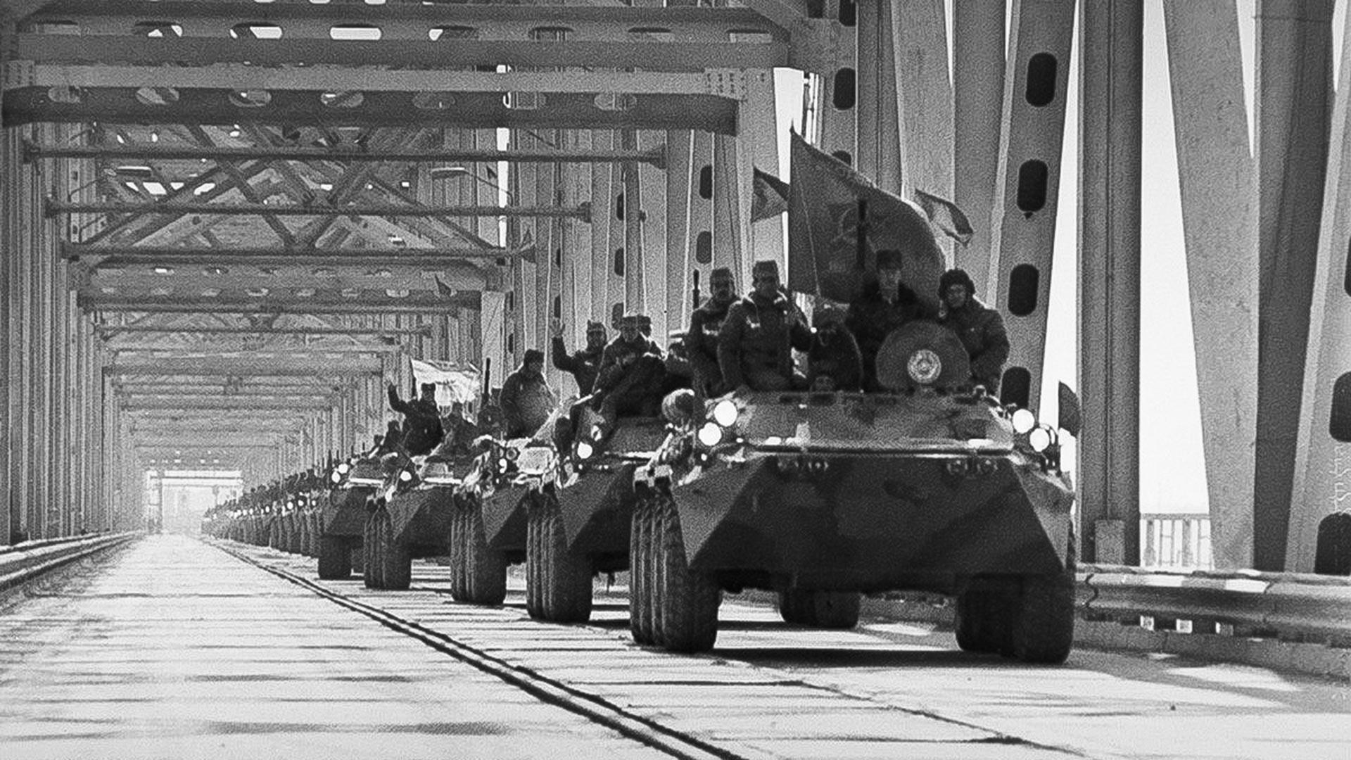 Soviet troops leaving Afghanistan.