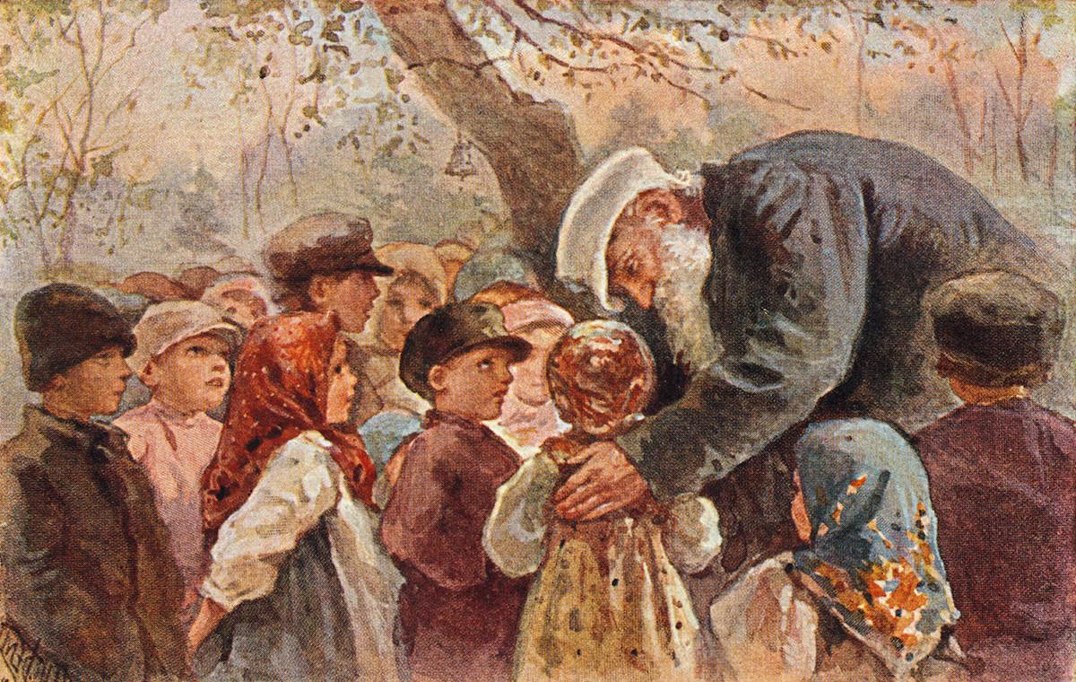 Lev Tolstói con alumnos de Yásnaia Poliana