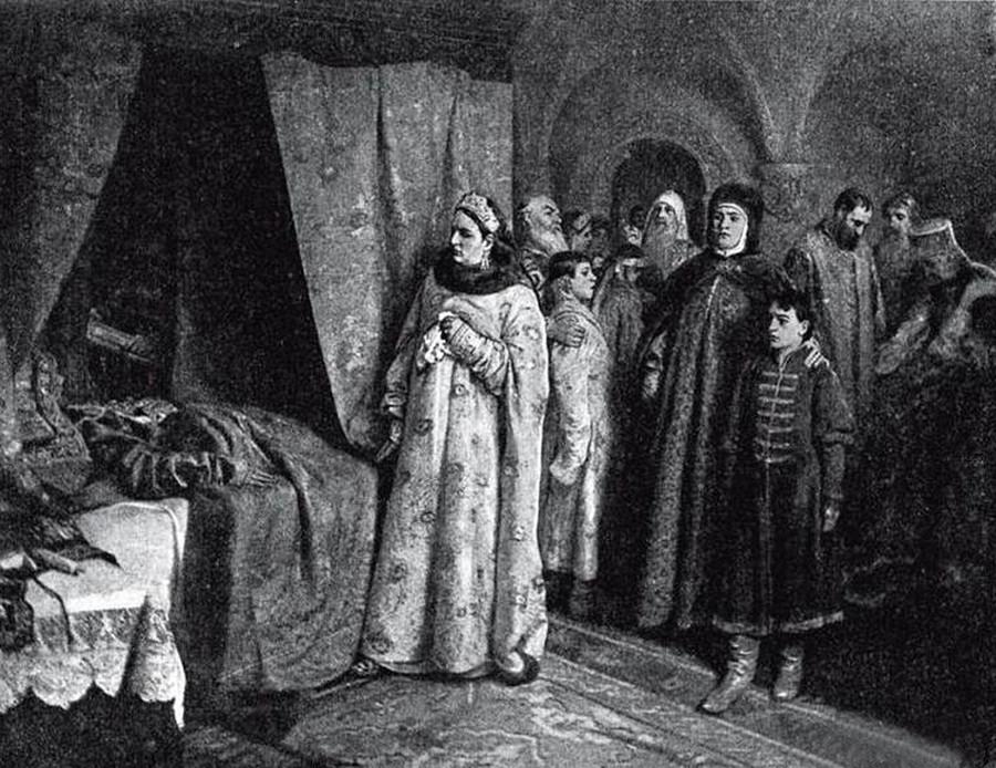 Смерть царя Федора Алексеевича. Клавдий Лебедев (1852-1916)