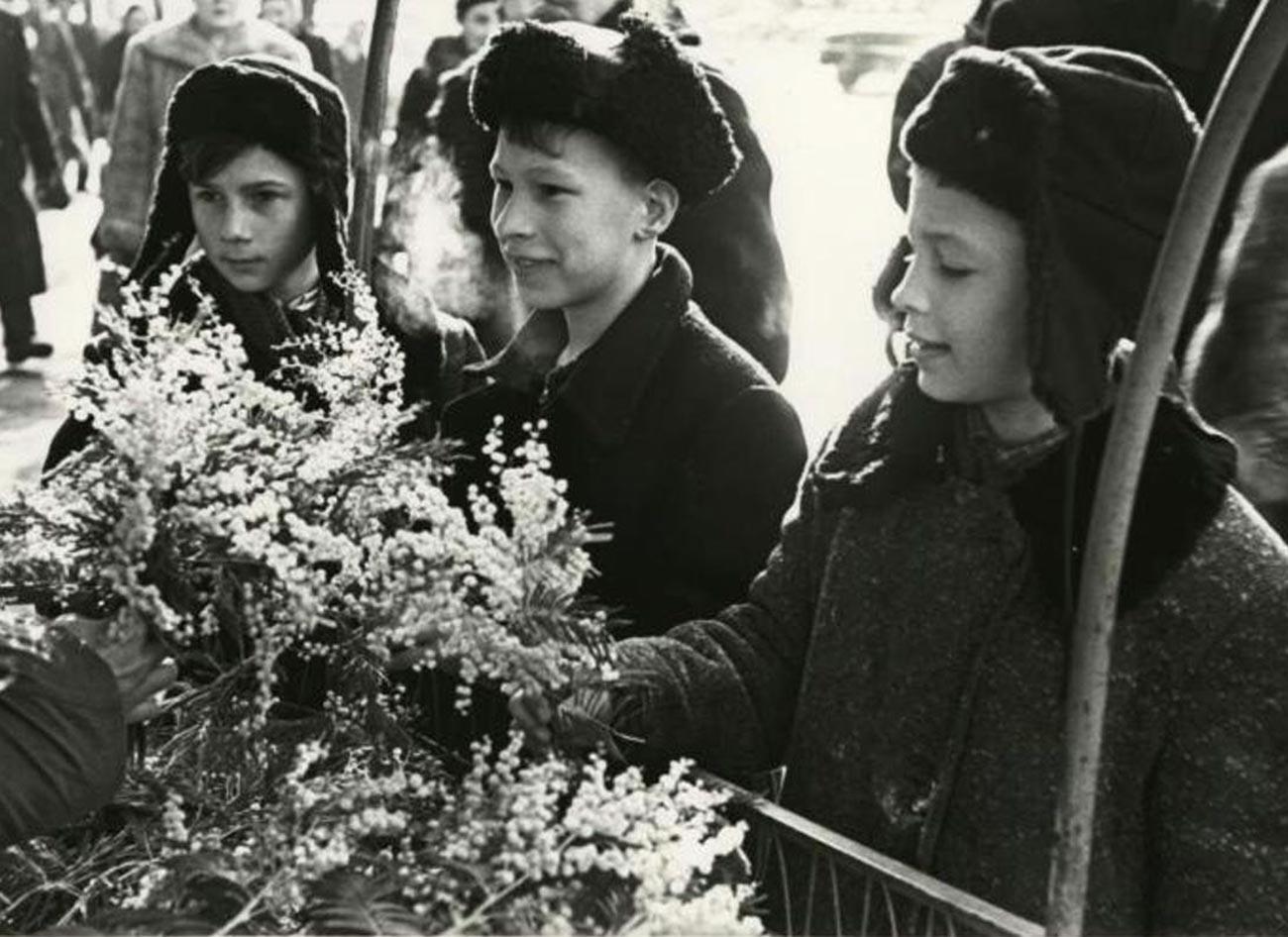 Des garçons achetant du mimosa pour la Journée internationale de la femme, le 8 mars 1959