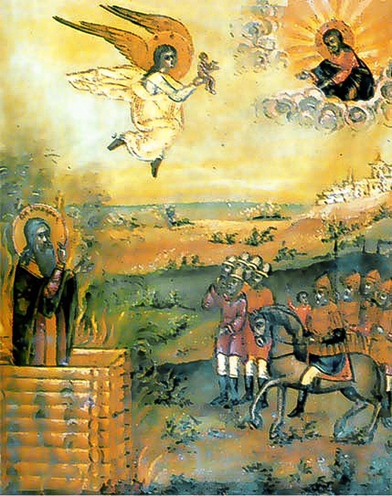 La morte di Avvakum Petrov, icona del XIX secolo