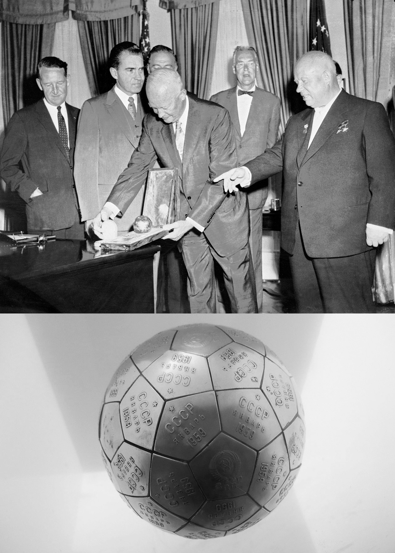 Vice-presidente dos EUA, Richard Nixon (2º à esq) e presidente dos EUA, Dwight Eisenhower (esq), observam miniatura da Lúnik, dada de presente pelo líder soviético Nikita Khruschov (dir) durante visita a Washington, 1959