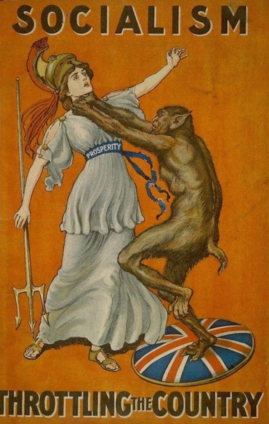 Cette affiche dépeint le socialisme comme une créature diabolique tentant d'étrangler la prospérité.