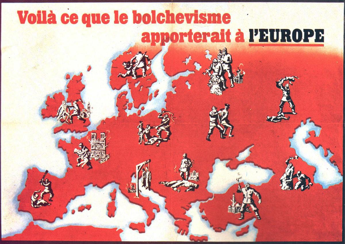 Les Français n'ont pas fait exception à la règle. Il s'agit de la couverture d'un livre imprimé en 1935 et imaginant ce que le règne du bolchevisme signifierait pour l'Europe, cinq ans avant l'occupation nazie de la France en 1940.