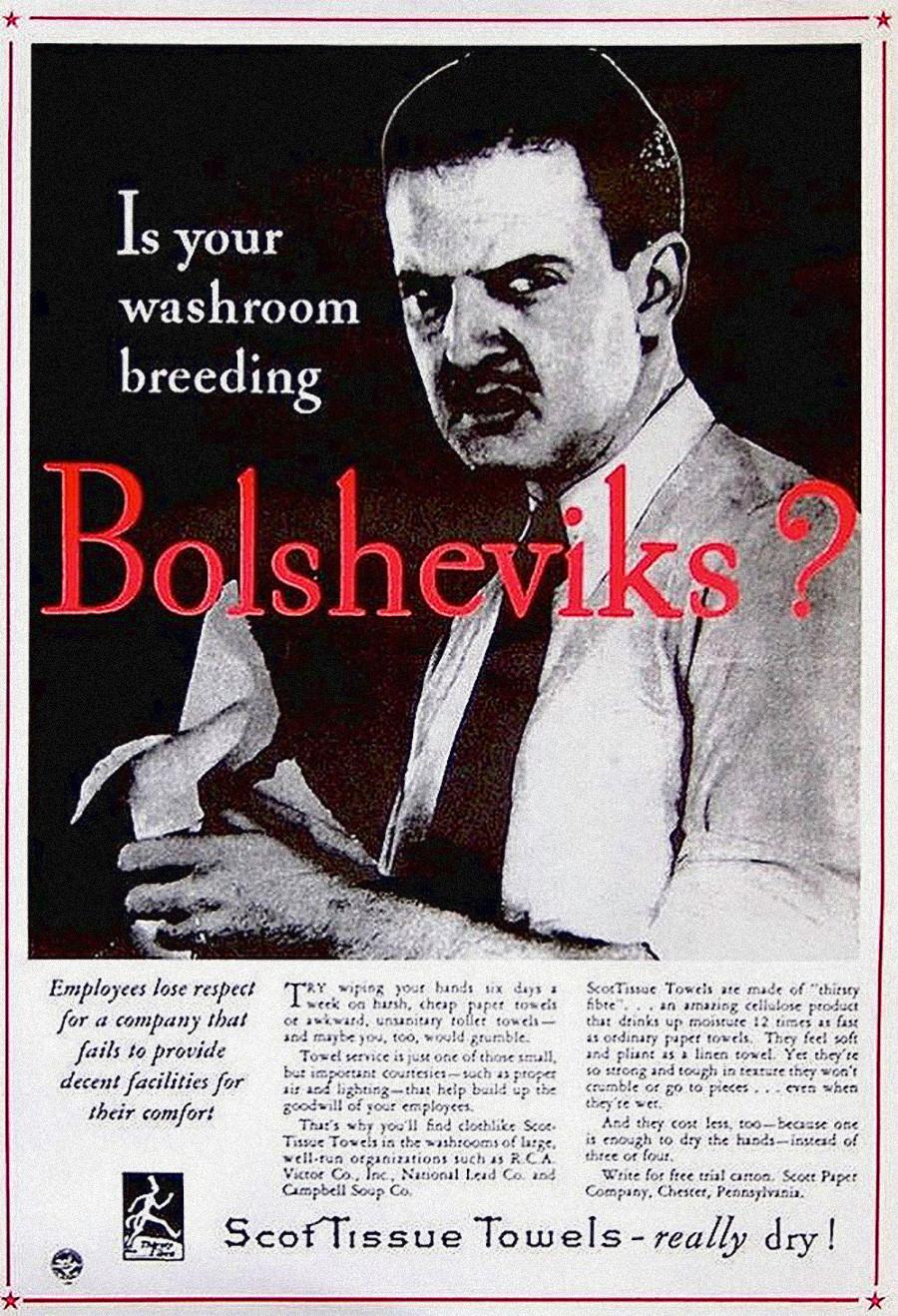 Certaines entreprises de l'Ouest ont utilisé la « terreur rouge » pour promouvoir leurs intérêts commerciaux et créer une publicité attrayante. Celle-ci sous-entend que les sociétés ne respectant pas le confort de leurs salariés élèvent donc des bolcheviks.