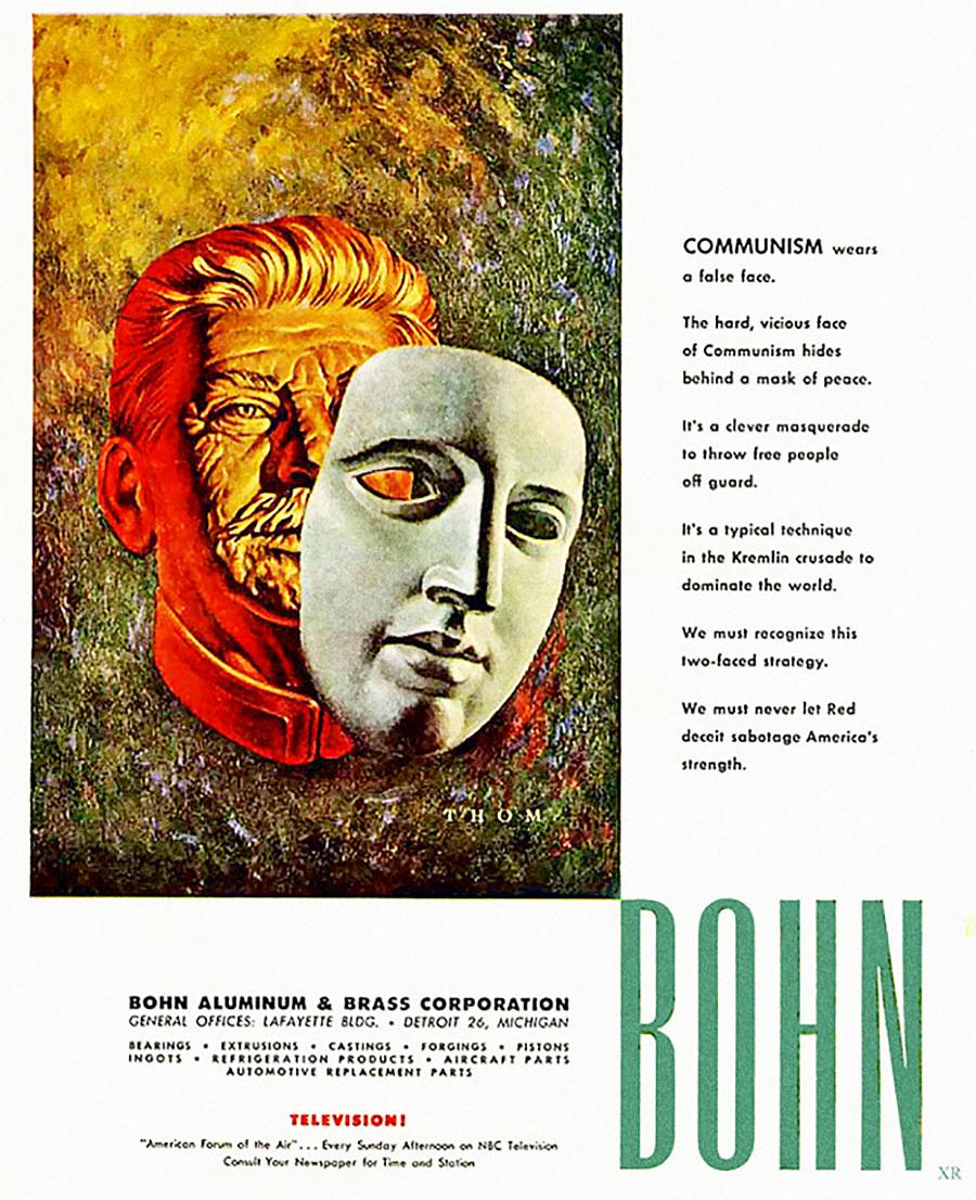 La Bohn Aluminum & Brass Corporation a fait appel à la menace du communisme en 1952 pour faire la publicité de sa marque.
