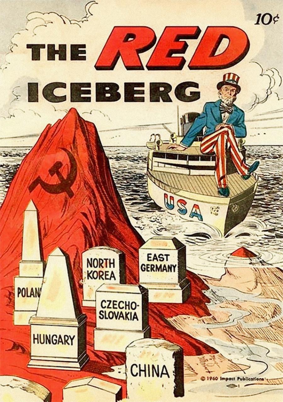 La couverture de ce livre dépeint l'Union soviétique comme un iceberg menaçant de faire sombrer les États-Unis.