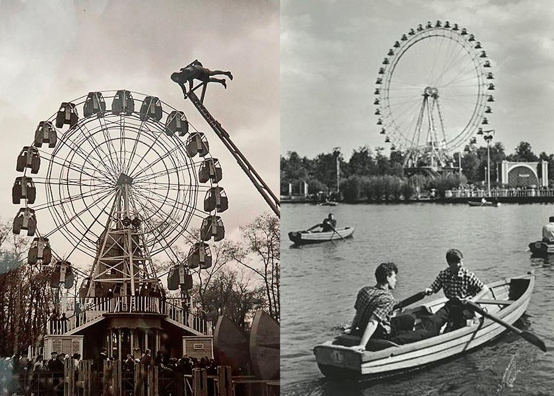 Парк Горького. Малое колесо обозрение, 1930-е и Большое колесо обозрения, 1950-е.