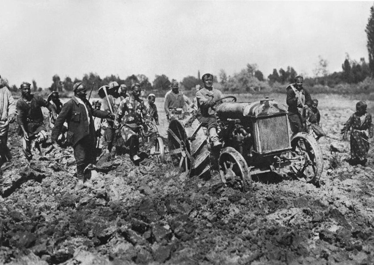 First tractor in Uzbek Republic; 1929.