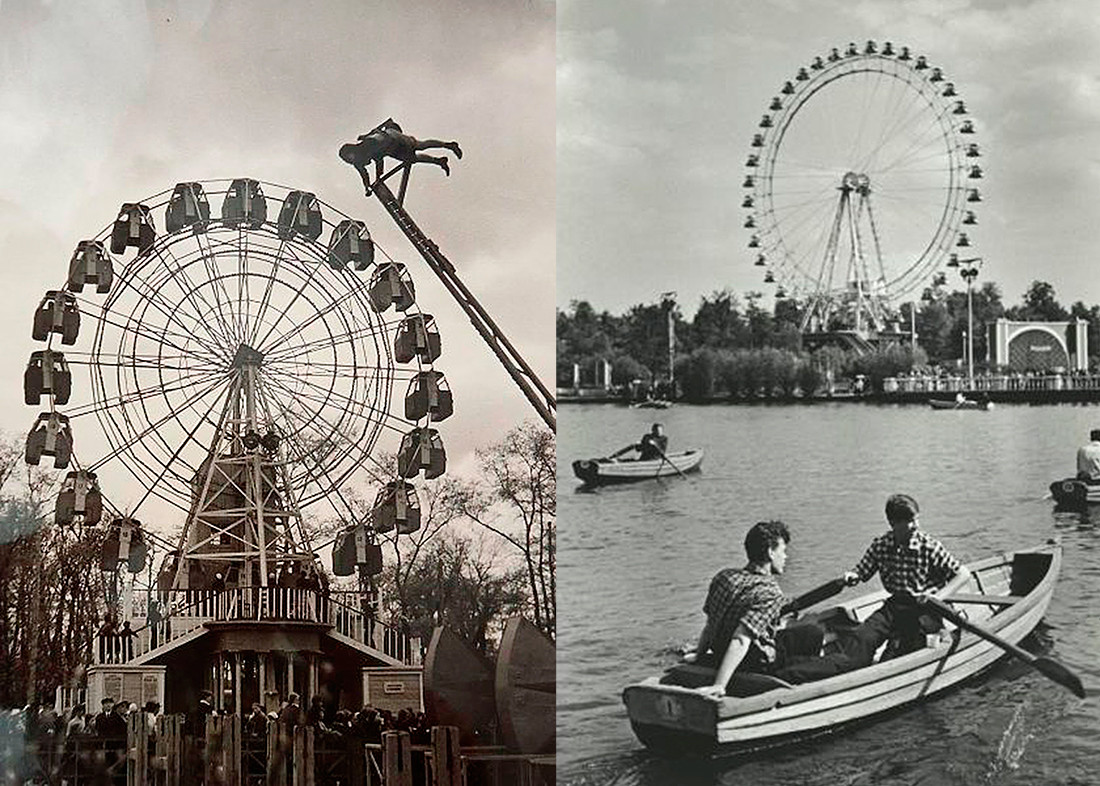 Gorky Park. Small and big Ferris wheels, 1930s and 1950s.