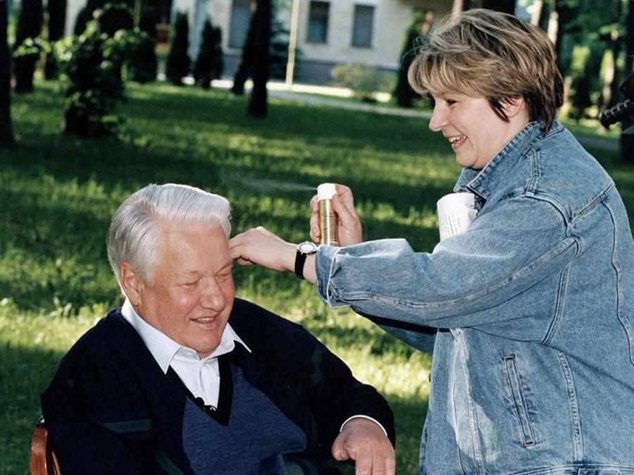 Borís Yeltsin con su hija Tatiana
