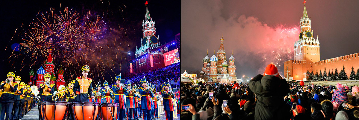 Summer music festival Spasskaya Tower and the New Year celebration on Red Square in Moscow.