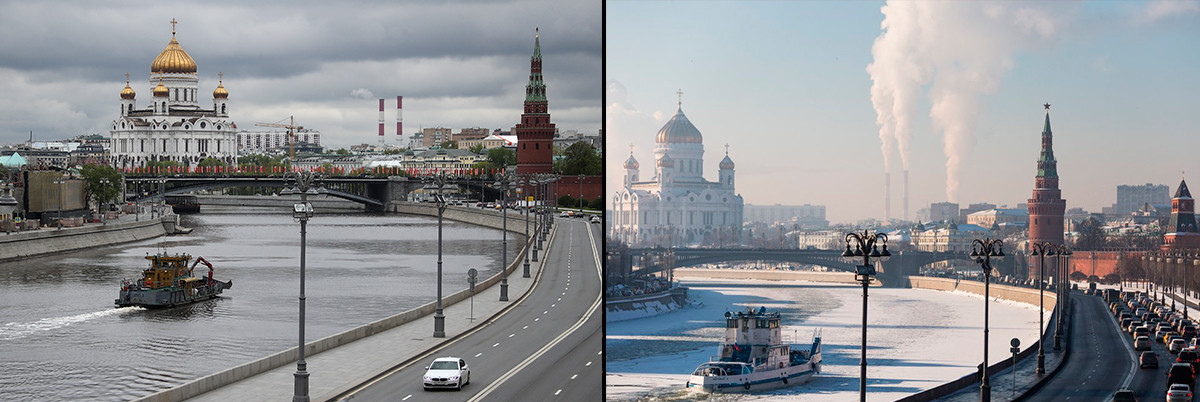The view on the Kremlin in spring and winter.